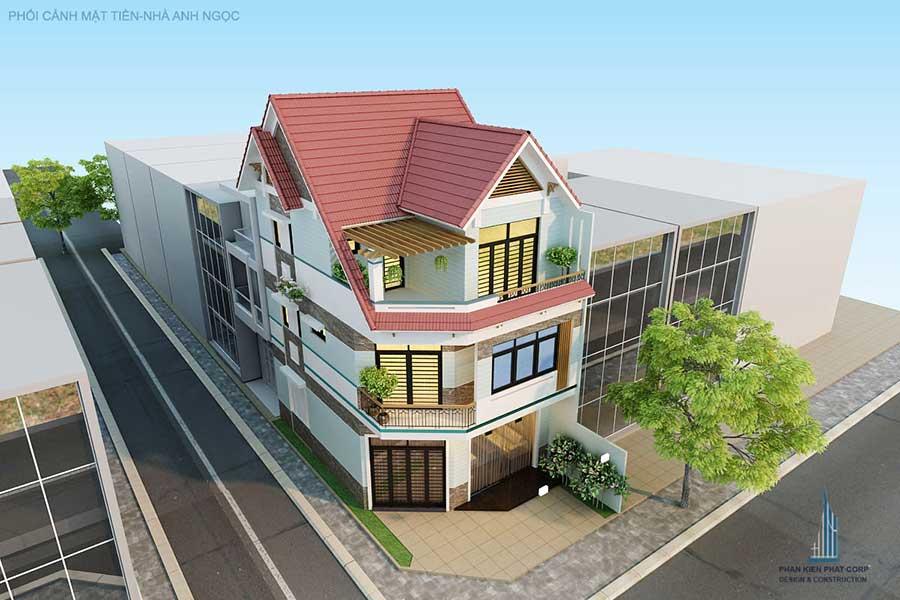 Thiết kế nhà bán cổ điển - Mặt tiền góc 1