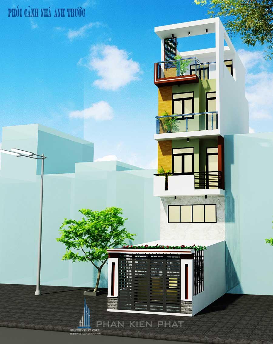 Mặt bằng - nhà phố 4 tầng 4x20m