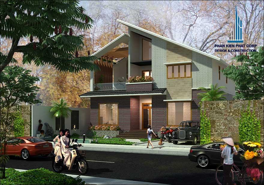 Thiết kế biệt thự 2 tầng -Mặt tiền góc 2