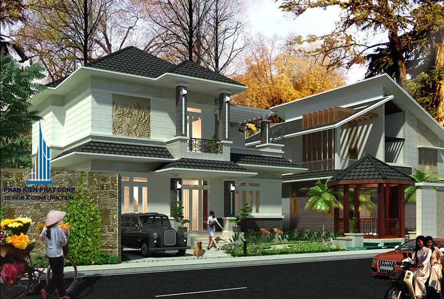 Thiết kế biệt thự sân vườn 2 tầng - Mặt tiền góc 2