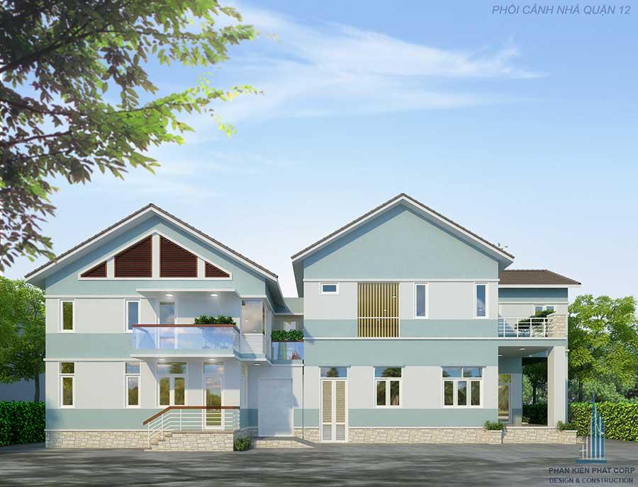 Thiết kế biệt thự mái thái- Mặt tiền góc 2