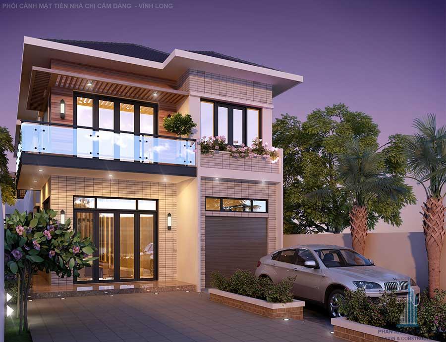 Phối cảnh mặt tiền biệt thự hiện đại 2 tầng đẹp tại Vĩnh Long