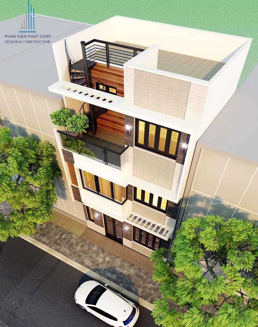Thiết kế nhà 3 tầng 5x15m - Mặt tiền góc 2