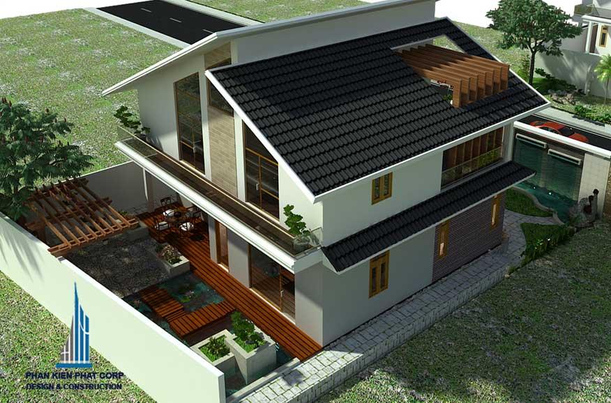 Thiết kế biệt thự 2 tầng mái nghiêng