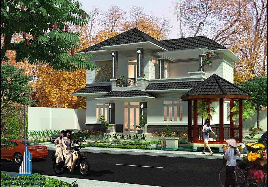 Thiết kế biệt thự mái thái sân vườn 2 tầng - Mặt tiền góc 3