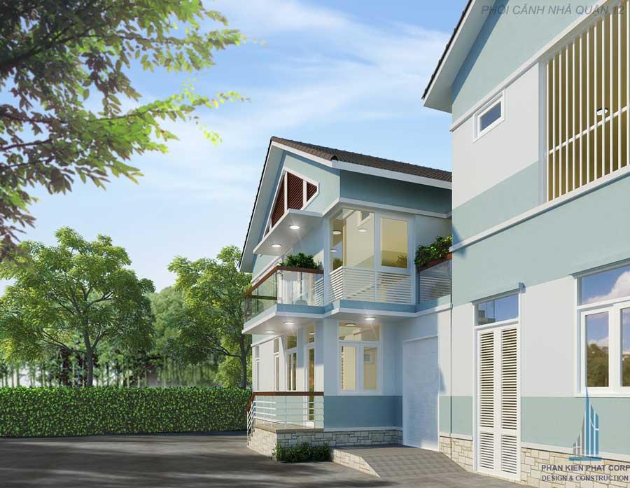 Biệt thự mái thái hiện đại - Mặt tiền góc 3