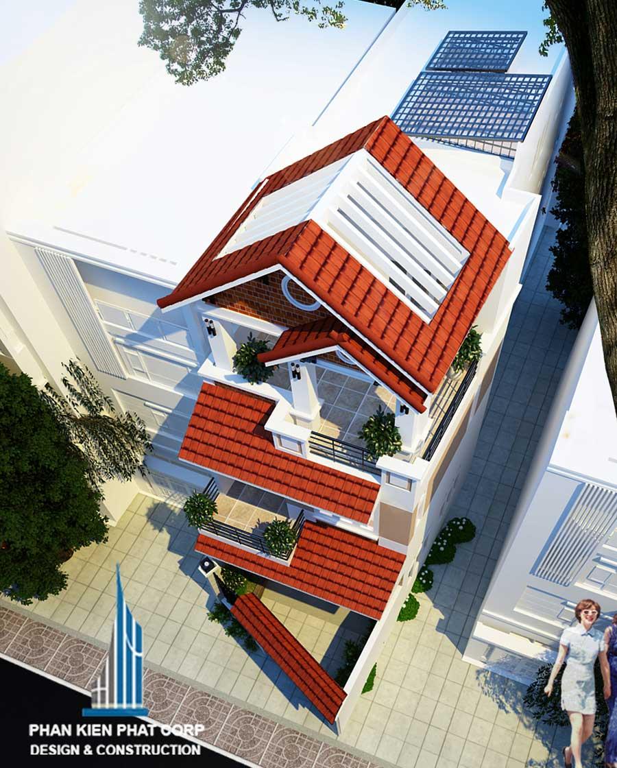 Mặt tiền góc 4 - nhà phố mái xéo 3 tầng