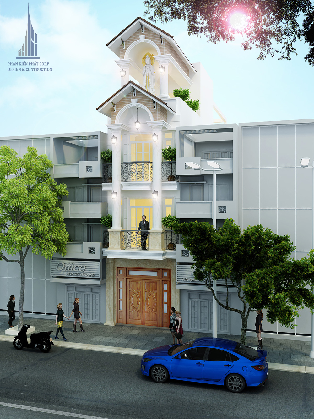 Phối cảnh mặt tiền Công trình nhà phố 4 tầng diện tích 4x15m tại Tân Phú sang trọng thu hút mọi ánh nhìn