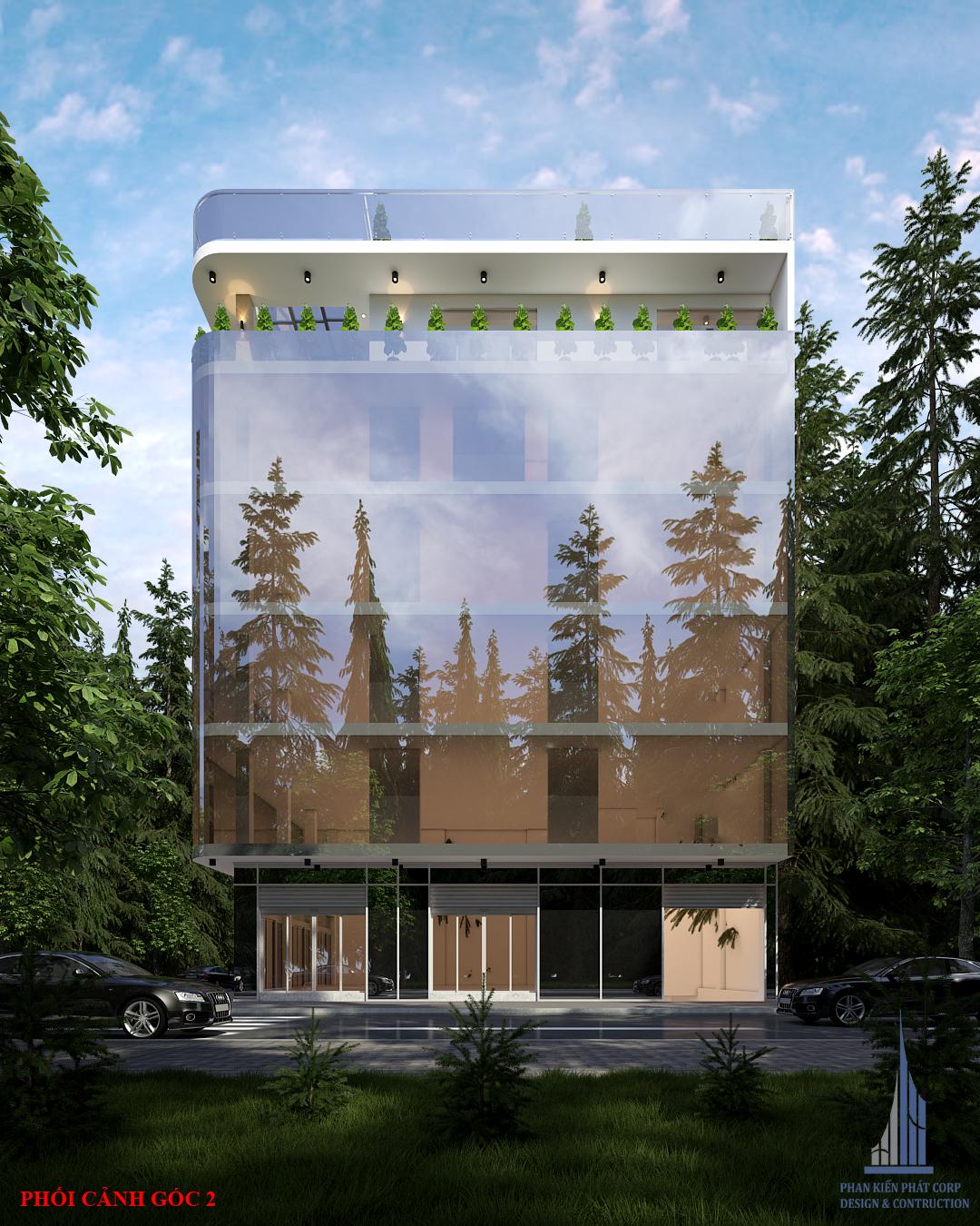 Phối cảnh thiết kế tòa nhà văn phòng hiện đại view 2