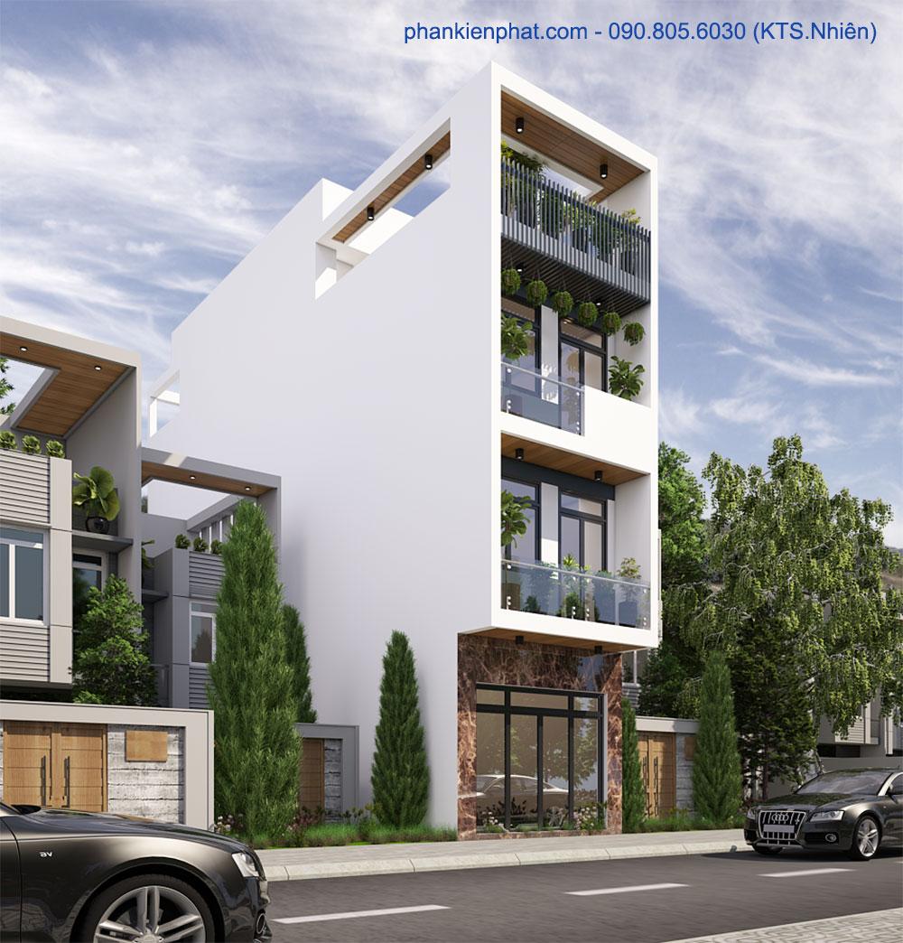 Bản vẽ nhà phố đẹp 4 tầng 4x15m hiện đại