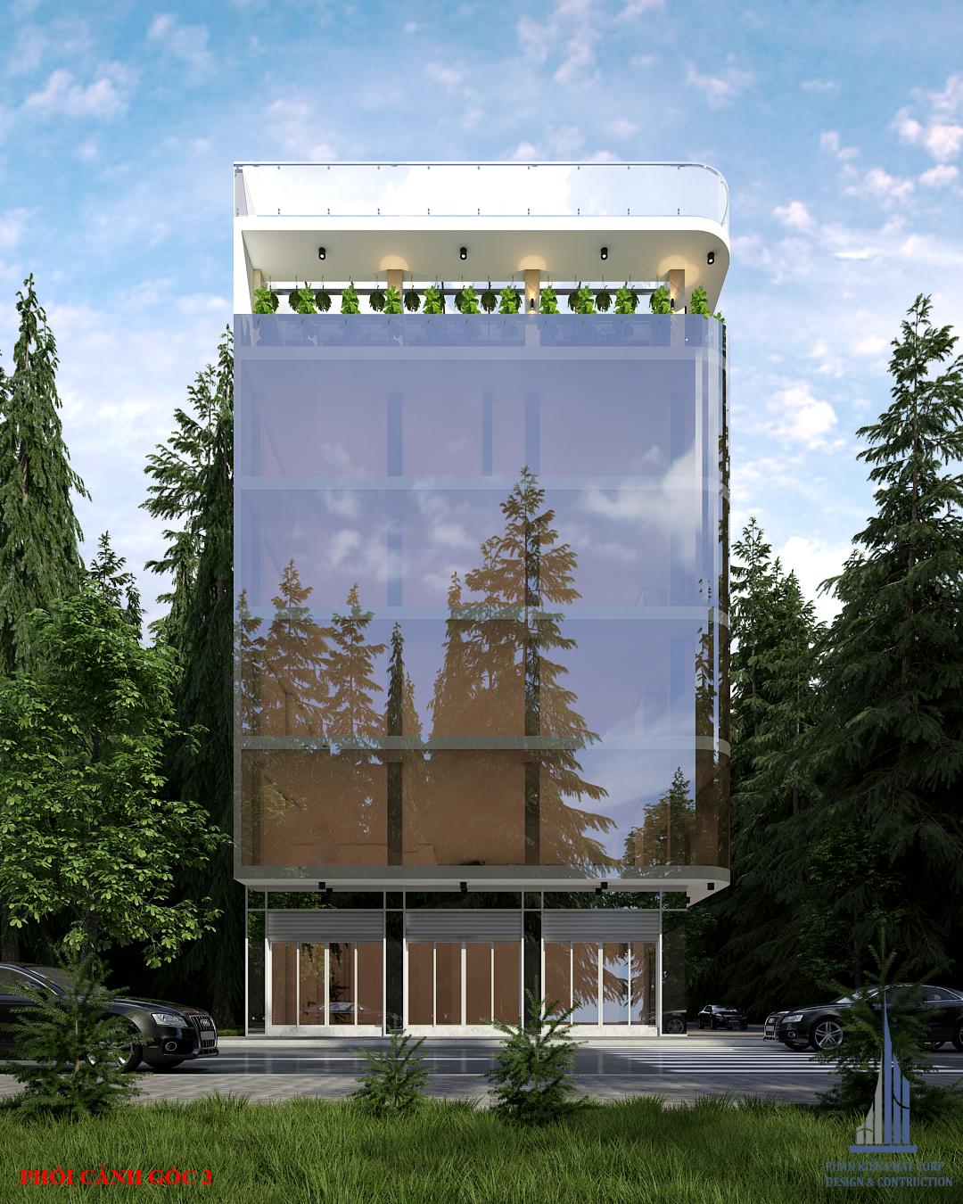 Phối cảnh thiết kế tòa nhà văn phòng hiện đại view 3