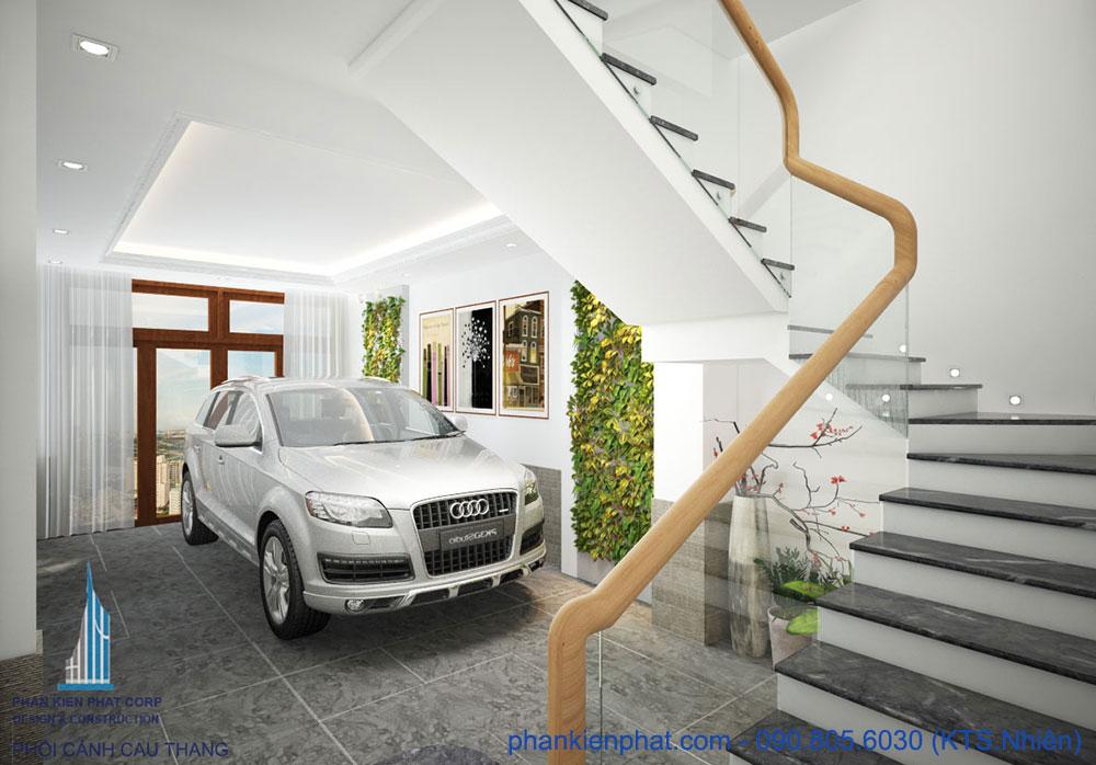 Chỗ để xe của nhà phố đẹp hiện đại 4 tầng