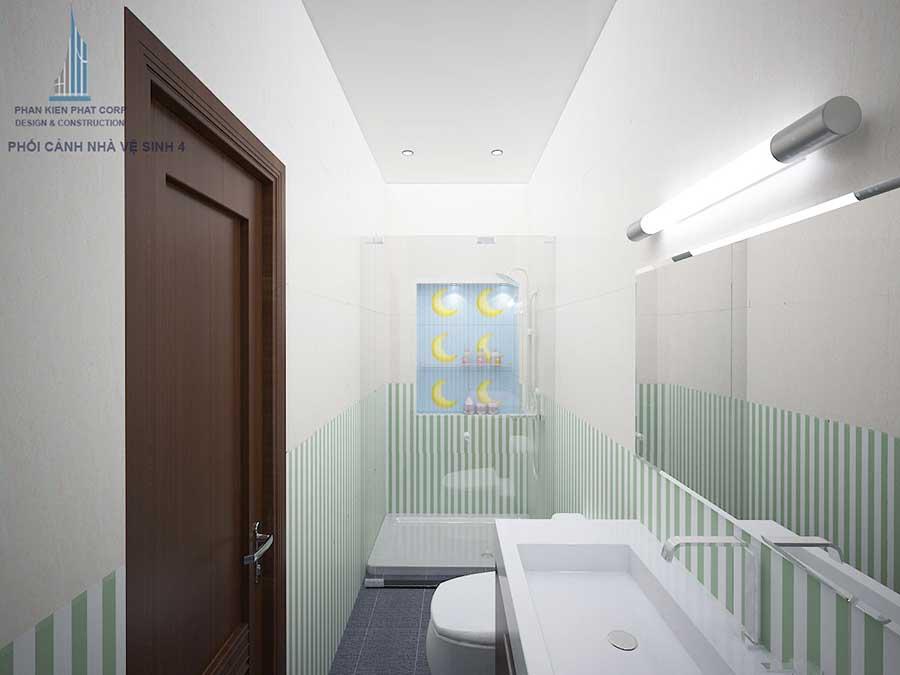 Phối cảnh nhà vệ sinh 2 góc 1 của nhà phố