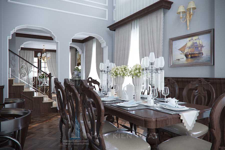 Thiết kế biệt thự - Phòng ăn ra cầu thang