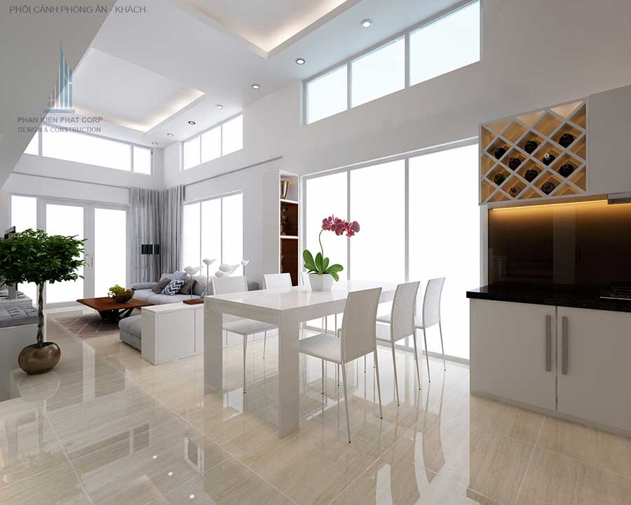 Phối cảnh phòng ăn của nhà phố thiết kế hiện đại