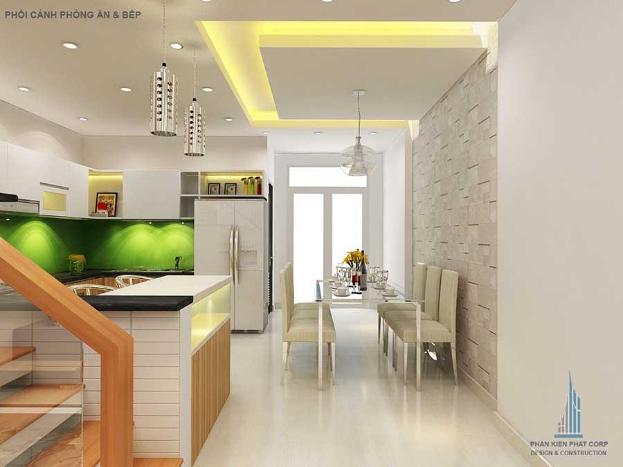 Phối cảnh phòng ăn và bếp của nhà phố 3 tầng đẹp