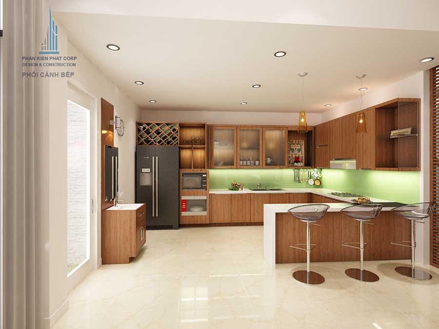 Phòng bếp góc 2 của bản vẽ nhà phố 4 tầng
