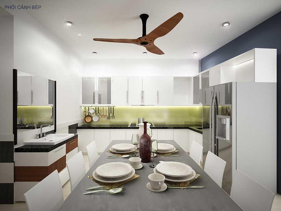 Phòng bếp góc 1 - nhà phố hiện đại