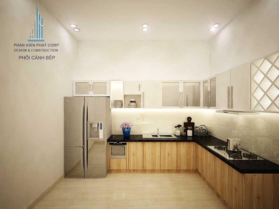 Phòng bếp góc 1 - nhà phố 3 tầng hiện đại