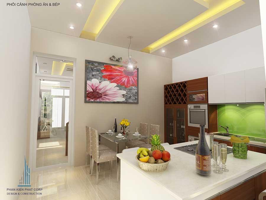 Phòng bếp - thi công xây nhà 2 tầng