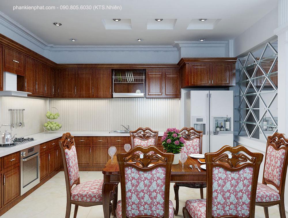 Phòng bếp view 1 nhà 1 trệt 2 tầng 8x12m bán cổ điển