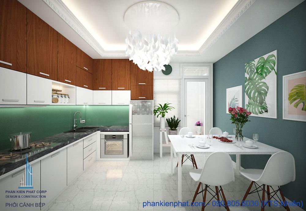 Phòng bếp view 1 của nhà 1 trệt 3 tầng 4x15m