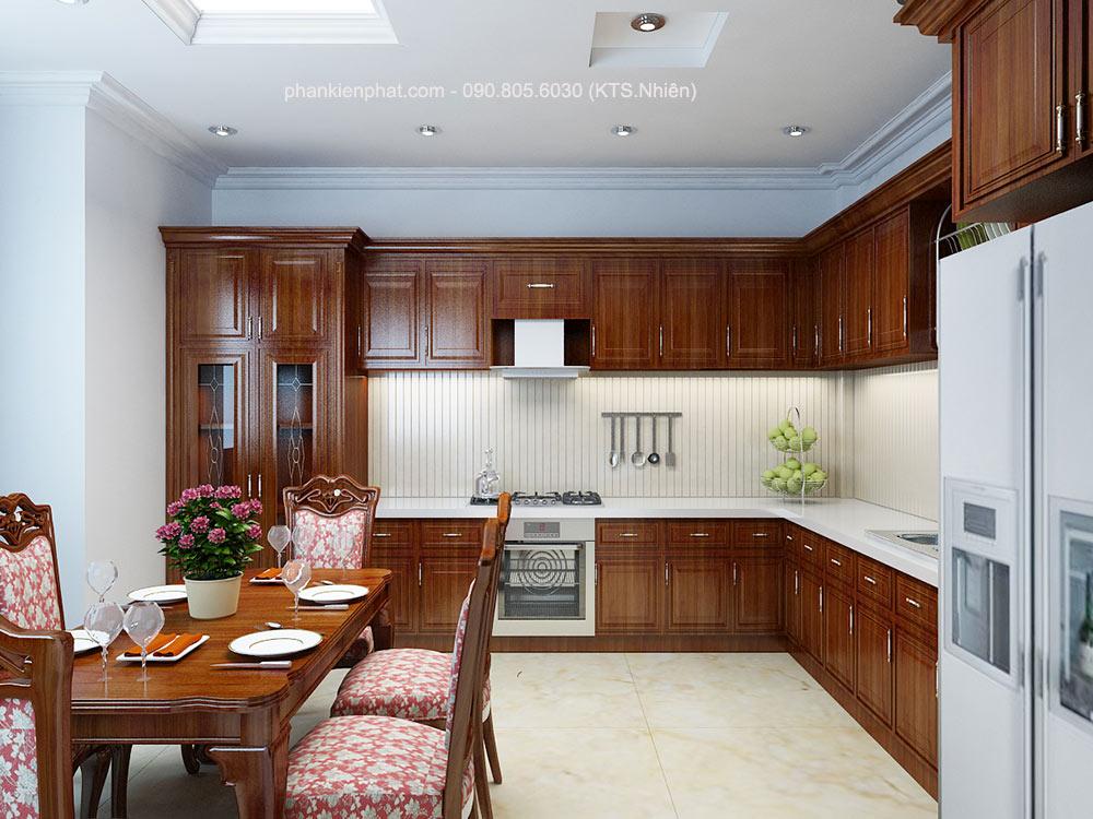 Phòng bếp view 2 của xây nhà 3 tầng 8x12m