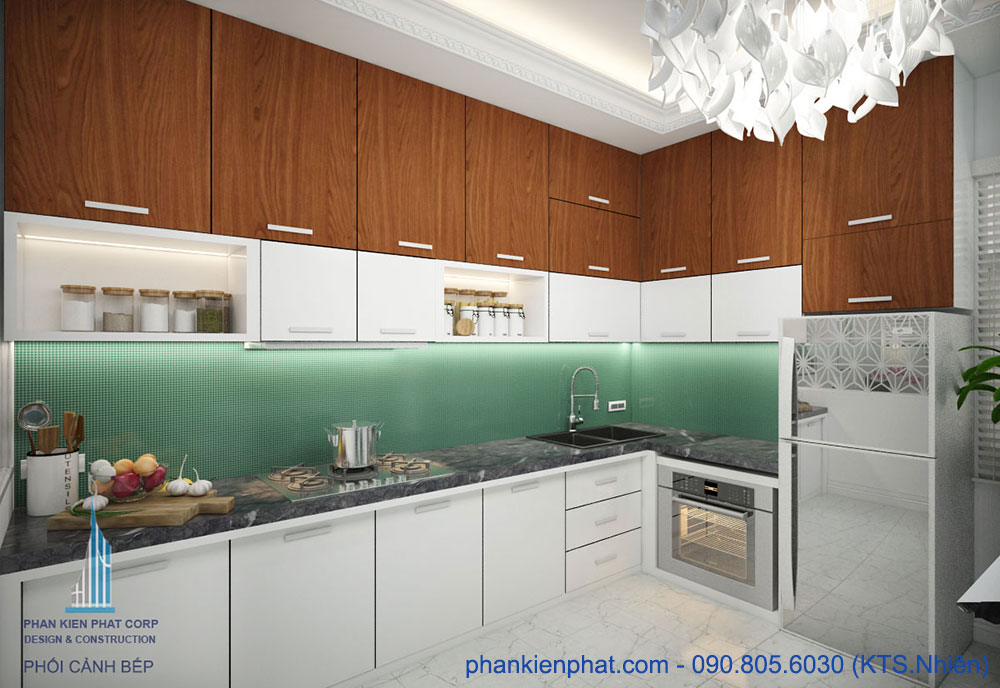 Phòng bếp view 3 nhà 1 trệt 3 tầng đẹp hiện đại