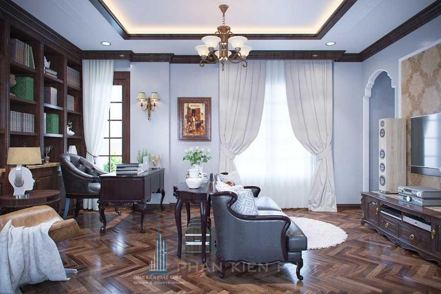 Phòng đọc sách - mẫu nhà 3 tầng cổ điển