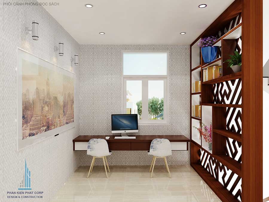Phòng đọc sách - nhà bán cổ điển 4.5x20m