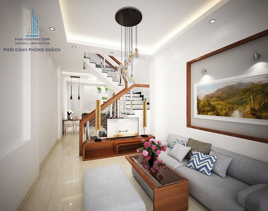 Phòng khách - nhà 3 tầng mặt phố