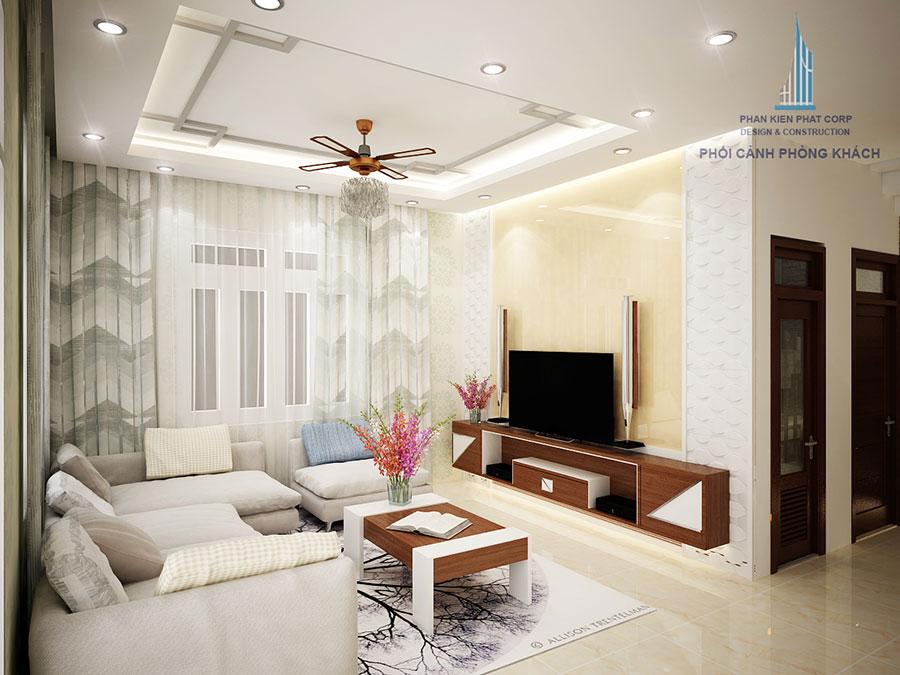 Phòng khách của nhà 2 tầng 10x15m