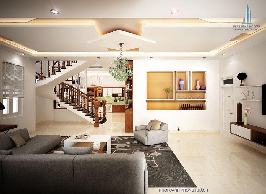 Phòng khách - biệt thự 15x12m hiện đại