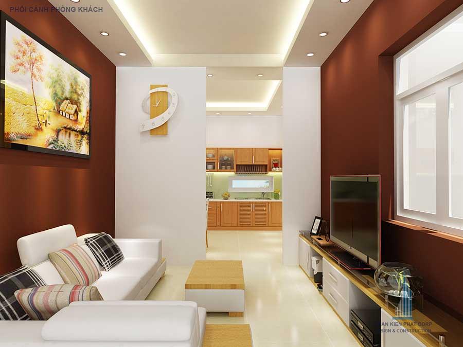 Phòng khách - mẫu nhà phố 2 tầng 5x20m