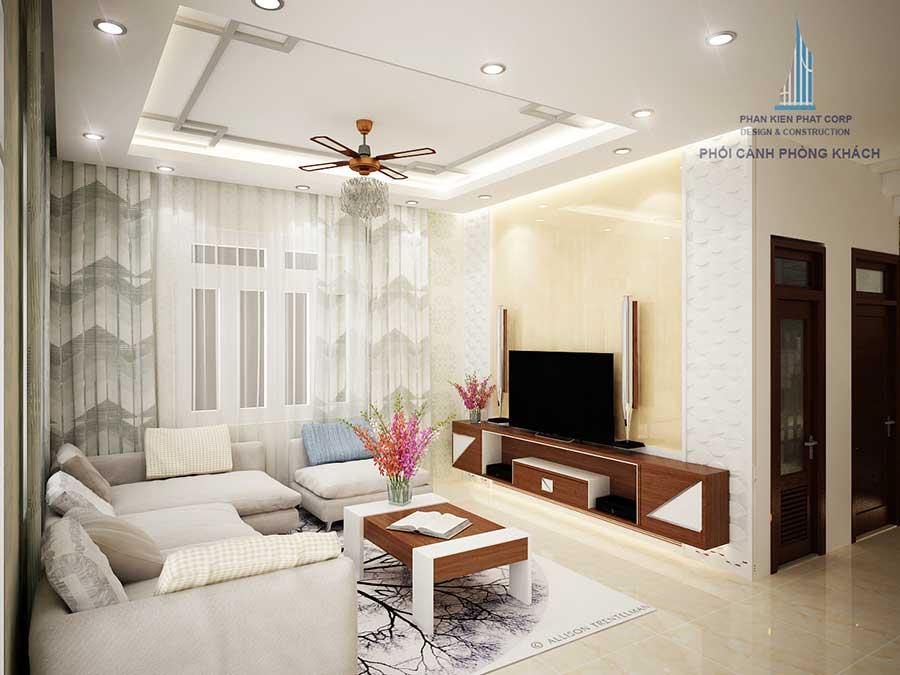 Phòng khách nhà 2 tầng sân vườn