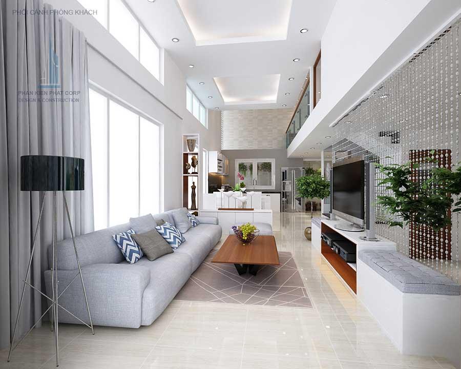 Phối cảnh phòng khách góc 1 của nhà phố thiết kế sang trọng