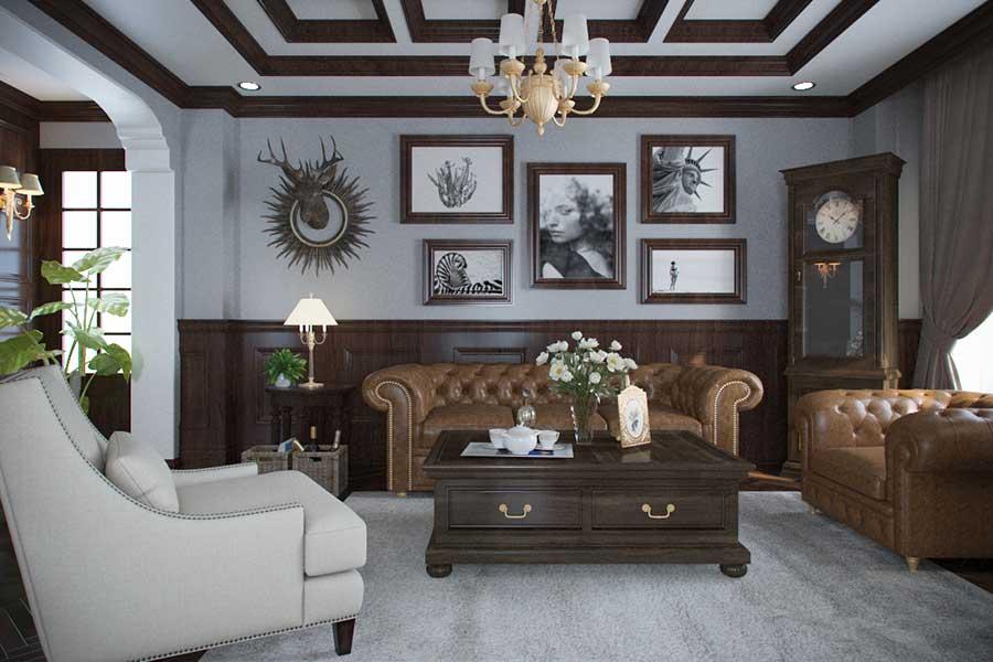 Thiết kế biệt thự cổ điển - Phòng khách góc 1