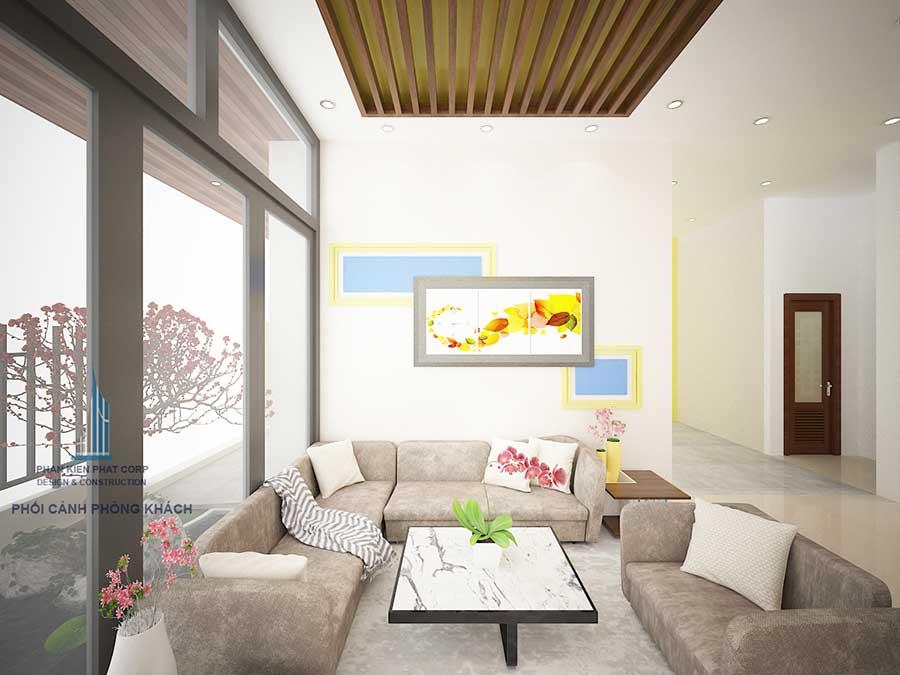 Phòng khách của biệt thự phố 3 tầng