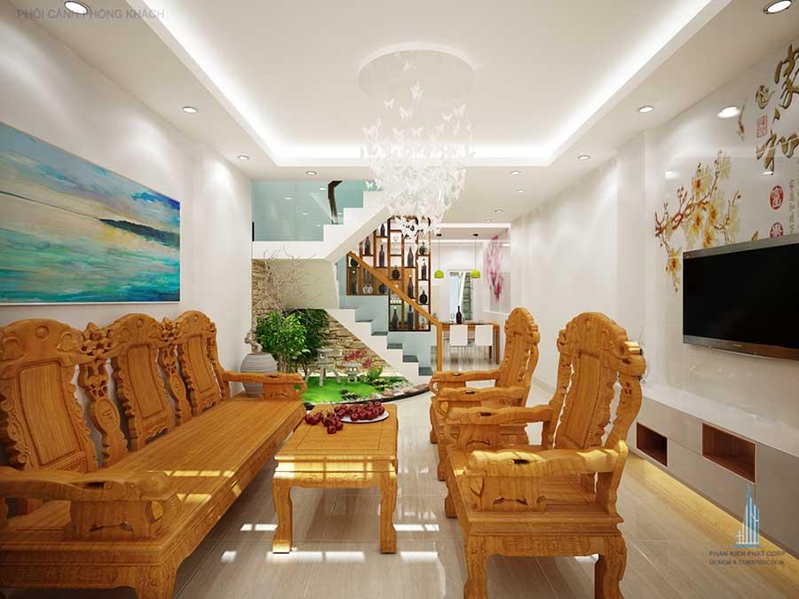 Phòng khách góc 1 - nhà phố 4x14.5m