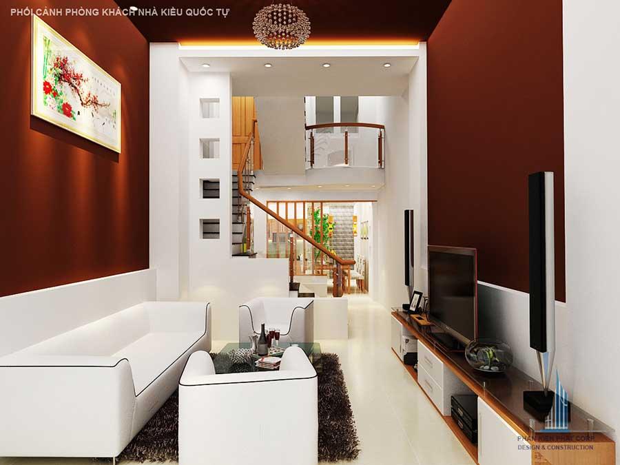Phòng khách nhà 1 trệt 1 tầng thông tầng