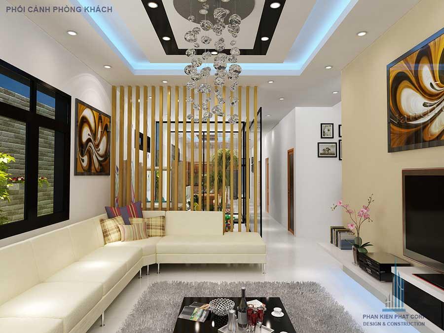 Phòng khách - Nhà 2 tầng hiện đại 10x20m