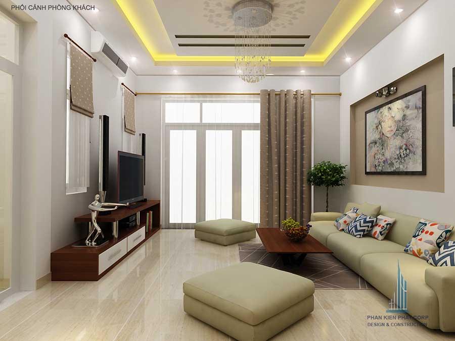 Phòng khách nhà phố 2 tầng hiện đại