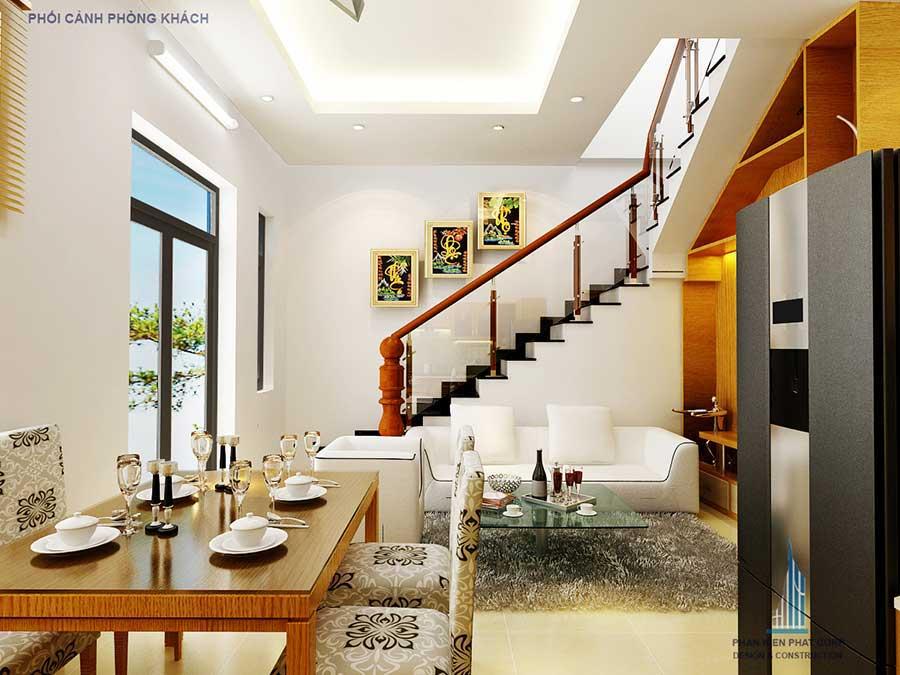 Thiết kế nhà 3 tầng - Phòng khách góc 1