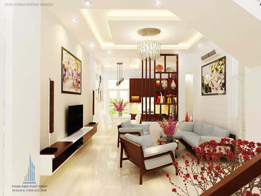 Thiết kế nhà 3 tầng 5x15m - Phòng khách góc 1
