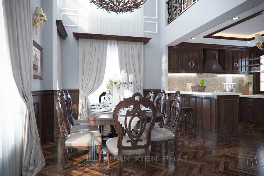 Phòng bếp - xây biệt thự cổ điển 3 tầng