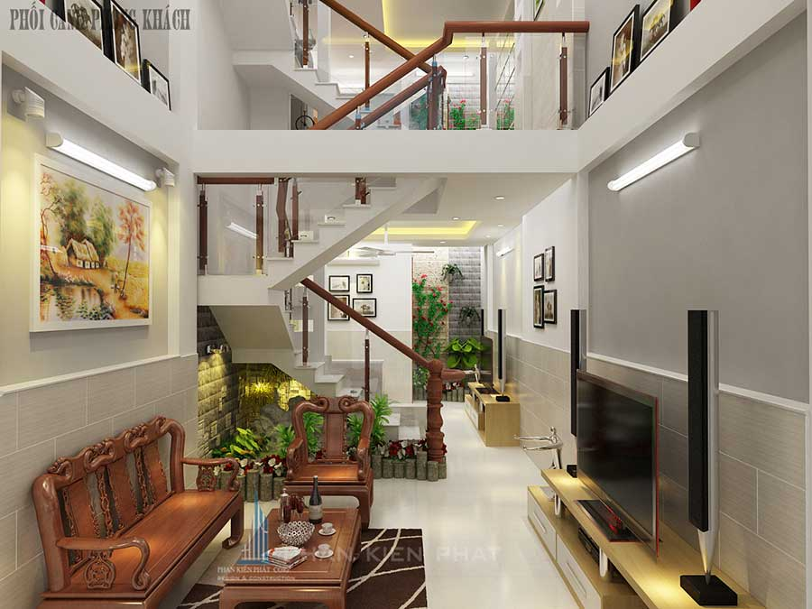 Xây nhà 4x20m - Phòng khách góc 1