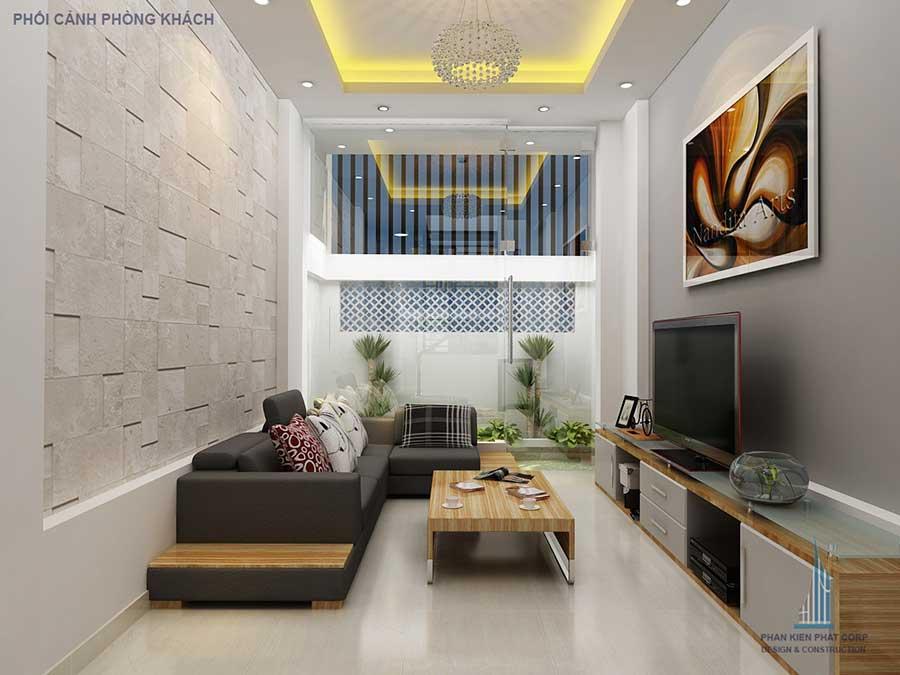Phòng khách - nhà phố 4 tầng hiện đại