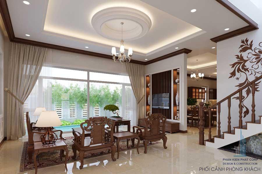 Phòng khách góc 1 - Biệt thự bán cổ điển