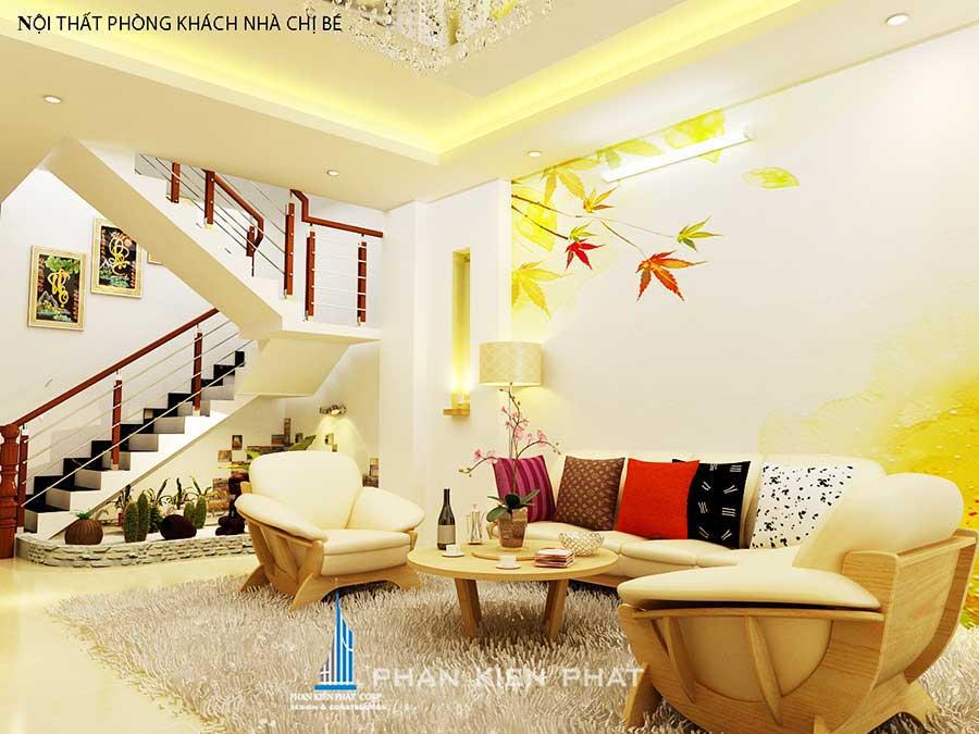 Phòng khách - nhà 3 tầng 5x20m kinh doanh