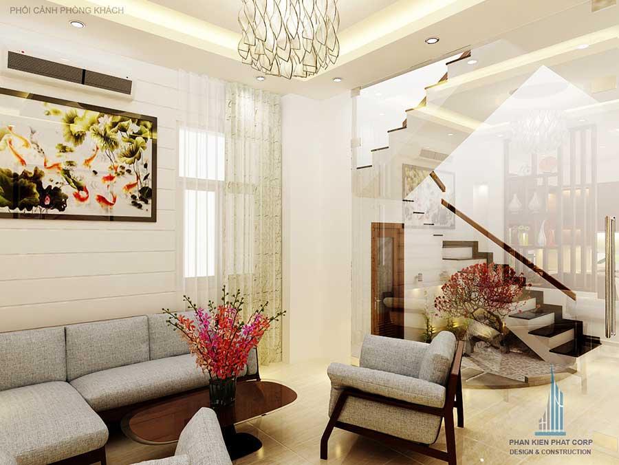 Phòng khách góc 2 - nhà phố mái xéo 3 tầng